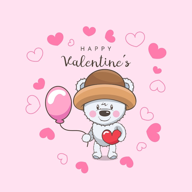 Teddy Bear Character With Valentine Red Heart And Balloon