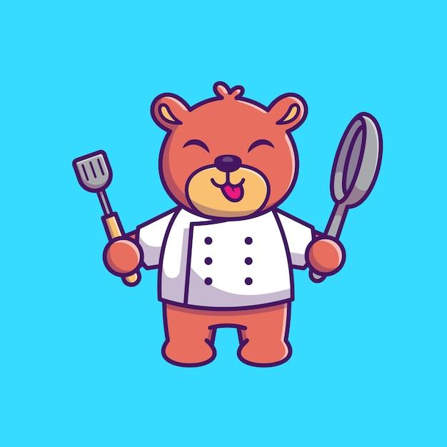 Мишка кулинария иконка иллюстрация. шеф-повар медведь талисман мультипликационный персонаж. животное иконка концепция изолированные Premium векторы