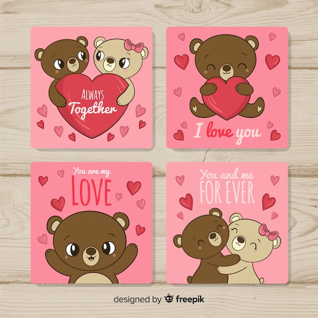 Teddy bear couple valentine card collection Free Vector