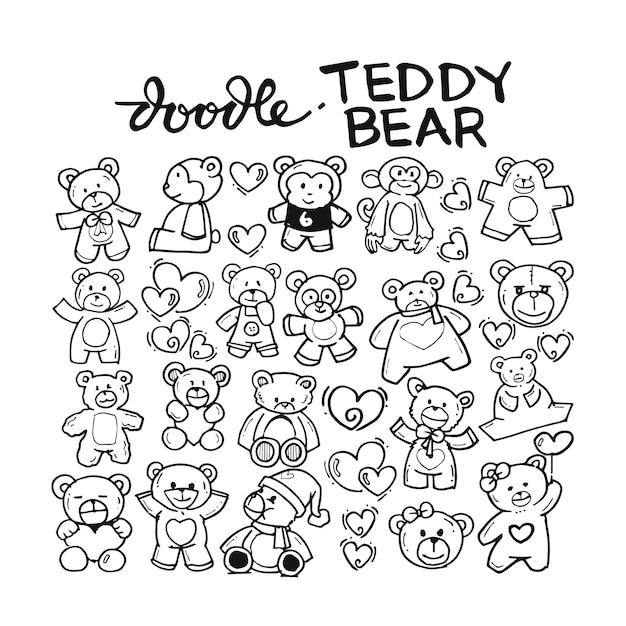 Teddy bear doodle hand drawn Premium Vector