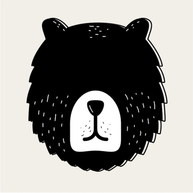 Teddy bear face head badge concept Free Vector