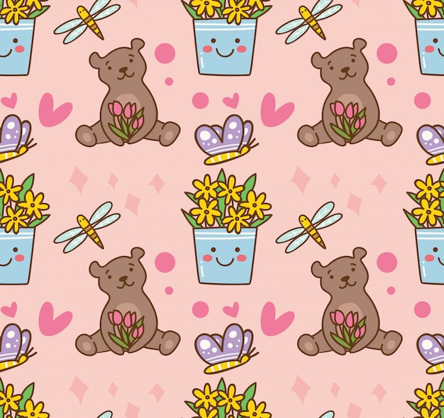 Teddy bear and flower seamless pattern Premium Vector