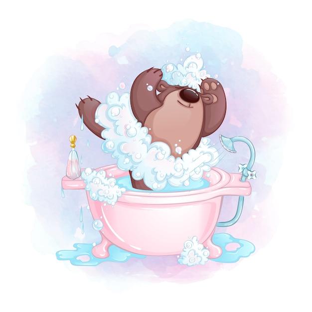 Мишка балерина с одеждой из мыльной пены в ванне. Premium векторы