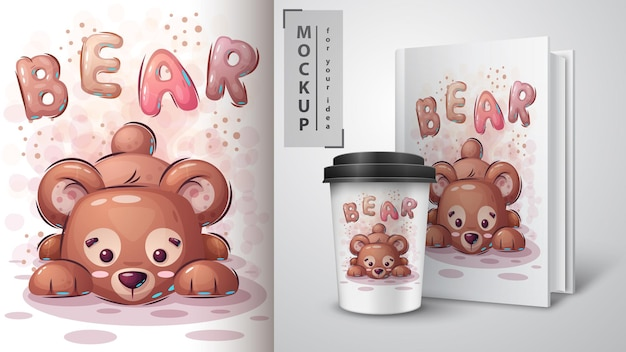 Teddy bear poster and merchandising. hand draw Premium Vector
