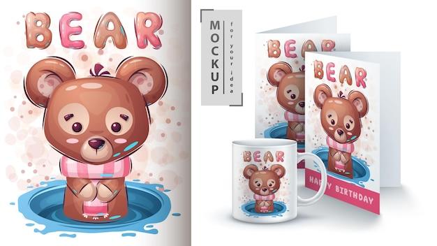Teddy bear poster and merchandising. vector eps 10 Premium Vector