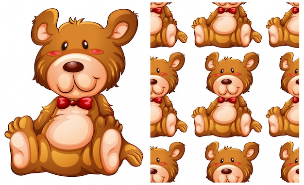 Teddy bear seamless pattern isolated on white Free Vector