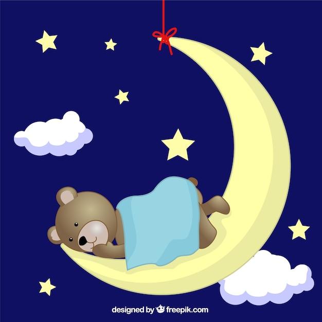 teddy bear sleeping on moon vector free download