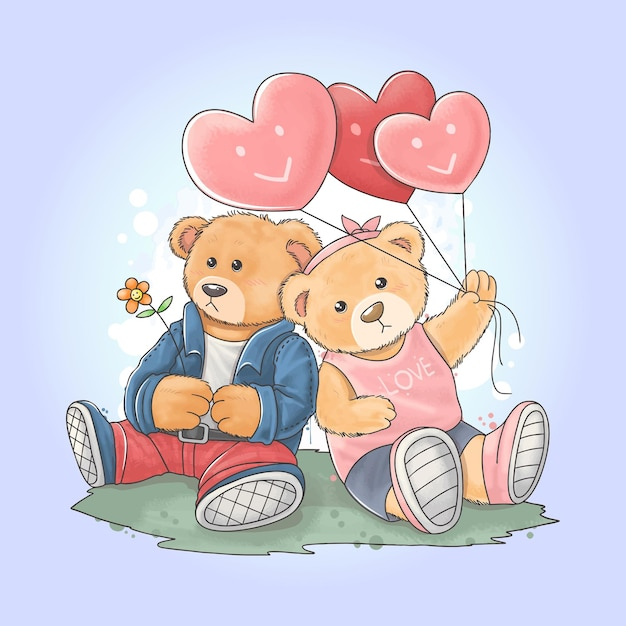 Плюшевый мишка в рокерской куртке со своей девушкой, несущей воздушный шар в виде сердечка любви Premium векторы