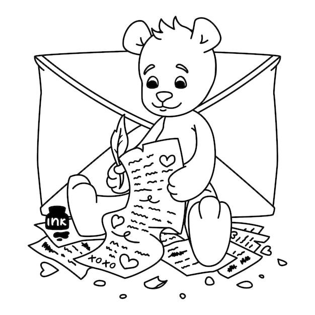 Мишка пишет любовное письмо. валентинка с сердечками и конверт. печать для детей книжка-раскраска. Premium векторы