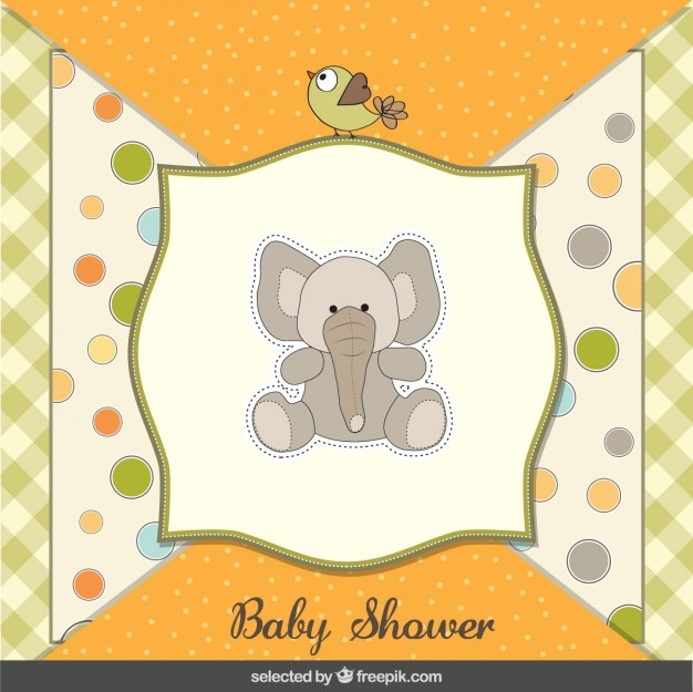 Vector Elephant Baby Shower ~ Teddy elephant baby shower card vector free download