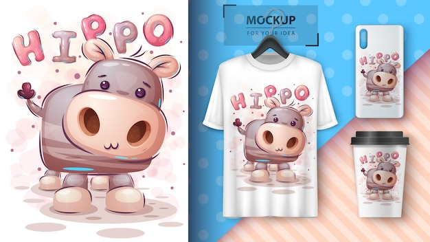 Teddy hippo. poster and merchandising Free Vector