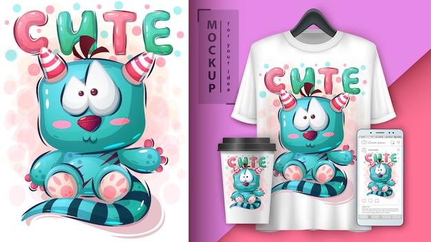 Teddy monster poster and merchandising Premium Vector