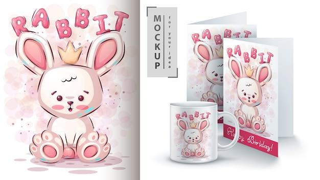 テディウサギのポスターとマーチャンダイジング 無料ベクター
