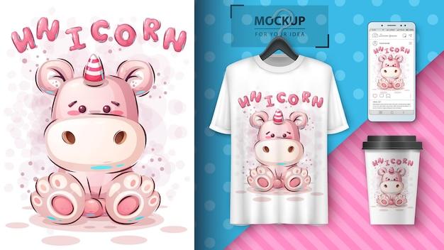 Teddy unicorn poster and merchandising. vector eps 10 Premium Vector