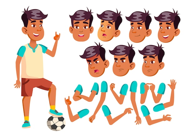 Teen boy character. arab. creation constructor for animation. face emotions, hands. Premium Vector