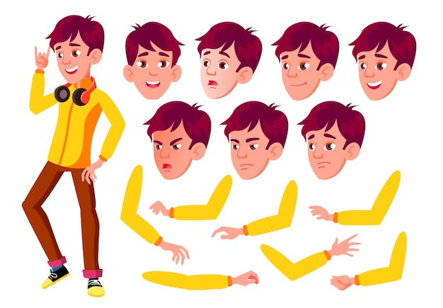 Teen boy character. european. creation constructor for animation. face emotions, hands. Premium Vector