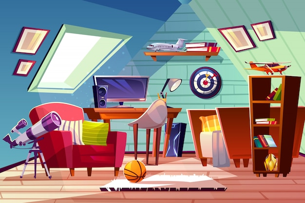 Teen boy kid attic room interior illustration. comfortable ...