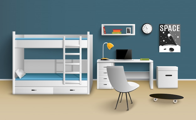 Teen boy room realistic Free Vector