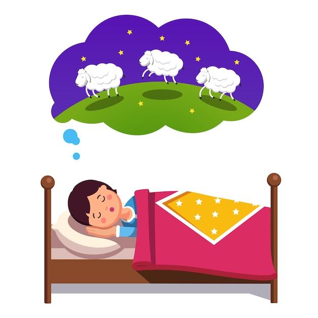 Ragazzo teenager cercando di dormire contando le pecore che saltano Vettore gratuito