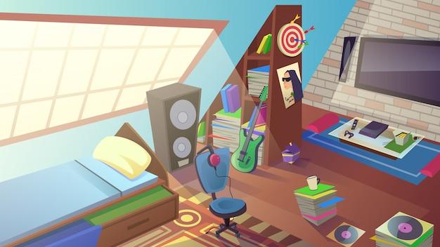Teen boy интерьер спальни в дневное время. комната внутри Premium векторы