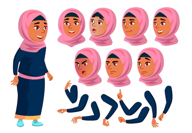 Teen girl character. arab. creation constructor for animation. face emotions, hands. Premium Vector
