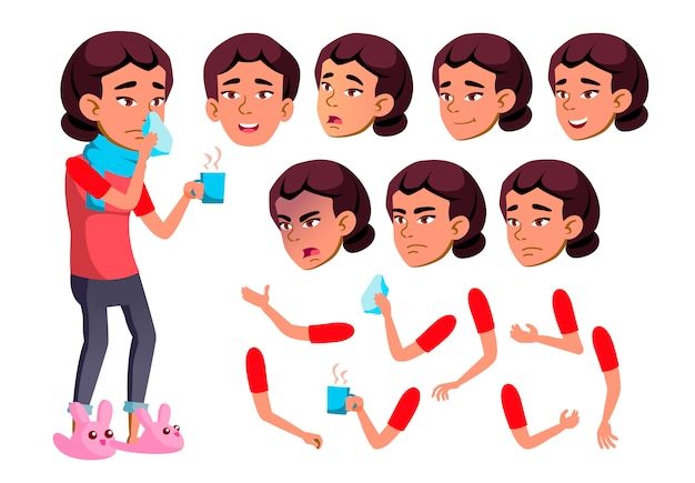 Teen girl character. asian. creation constructor for animation. face emotions, hands. Premium Vector