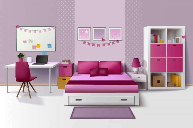 Teen girl room modern interior design with magnetic whiteboard cupboard and bed Free Vector