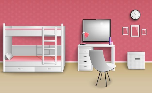 Teen girl room realistic Free Vector
