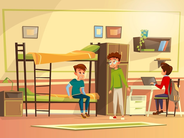 Teen male students group dormitory room. Boy characters discussing together Free Vector