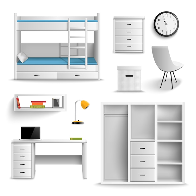 Teen room realistic elements Free Vector