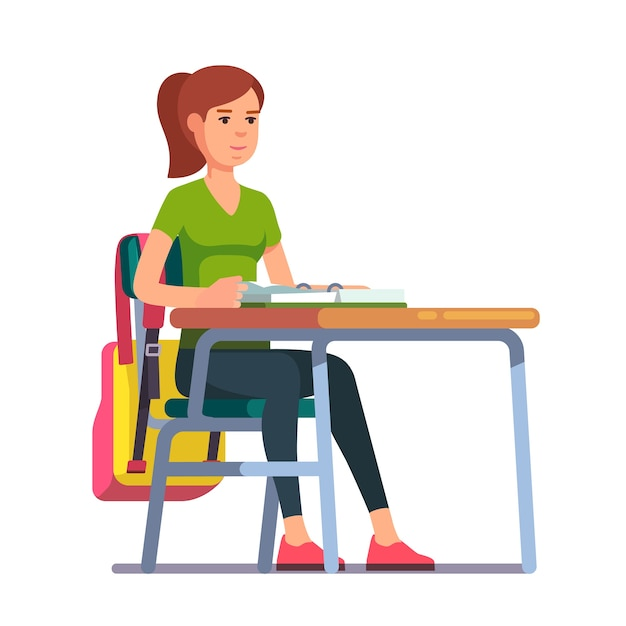 Student Sitting At Her School Desk Free Vector