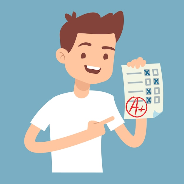 Teen student holding paper with perfect school exam test Premium Vector