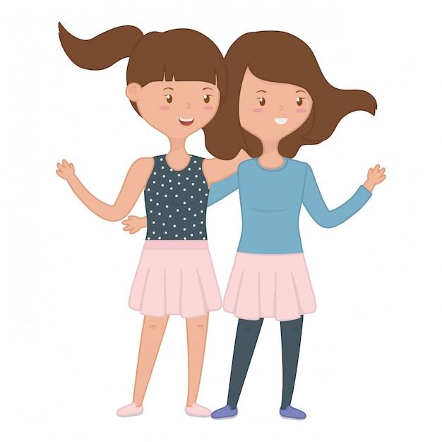 Teenage girls friends Free Vector