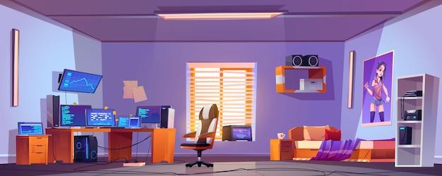 Teenager boy bedroom interior, computers on desk Free Vector