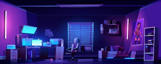 Free Vector Teenager Boy Bedroom Interior Computers On Desk