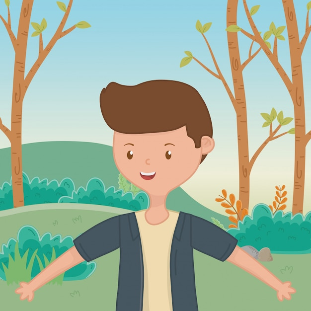 Teenager boy cartoon Free Vector