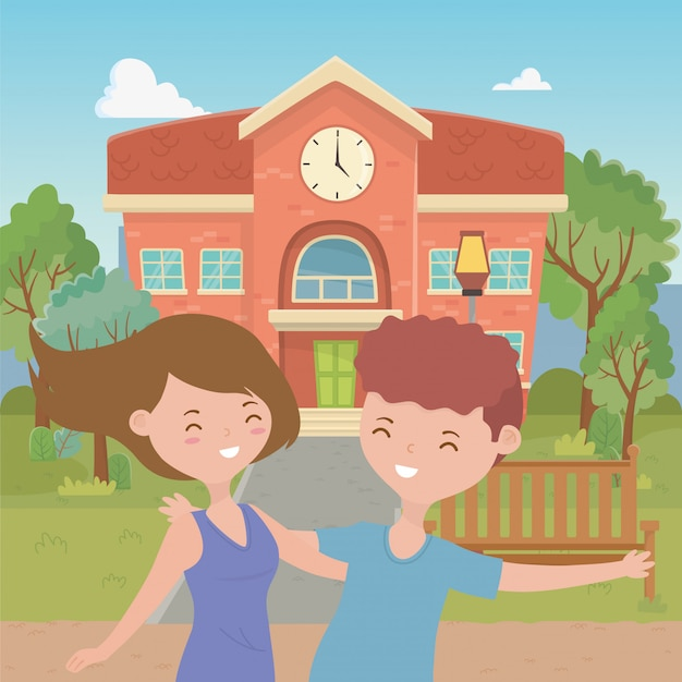Teenager boy and girl cartoon Free Vector
