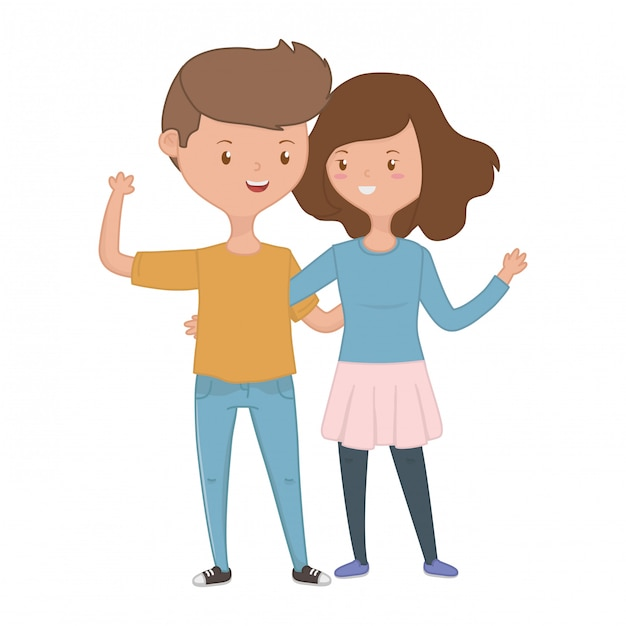 Teenager boy and girl cartoon Free Vector