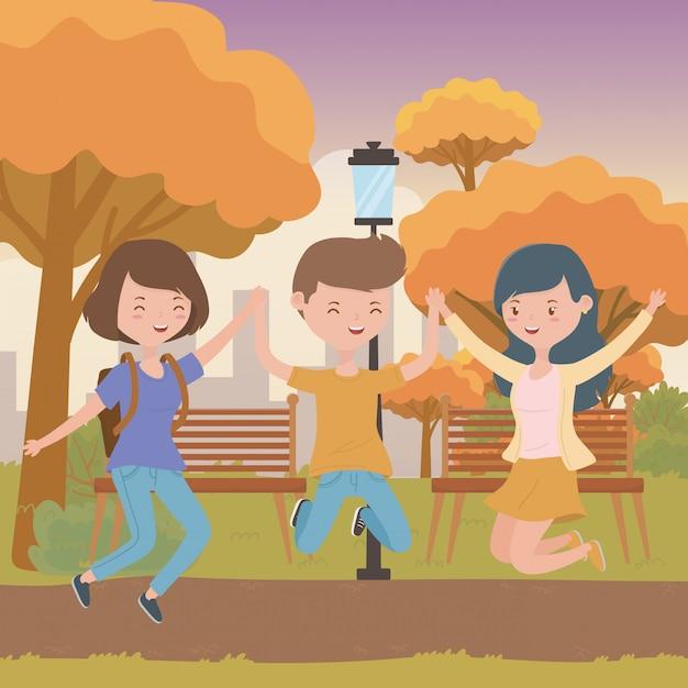 Teenager boy and girls cartoon Free Vector