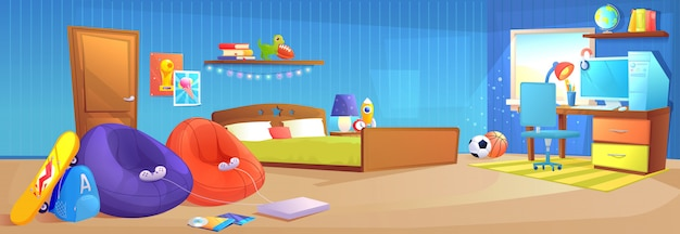 Teenager boy room interior design banner. Free Vector
