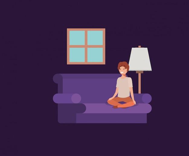 Teenager boy seated in livingroom Premium Vector
