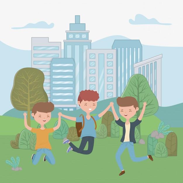 Teenager boys cartoons Free Vector