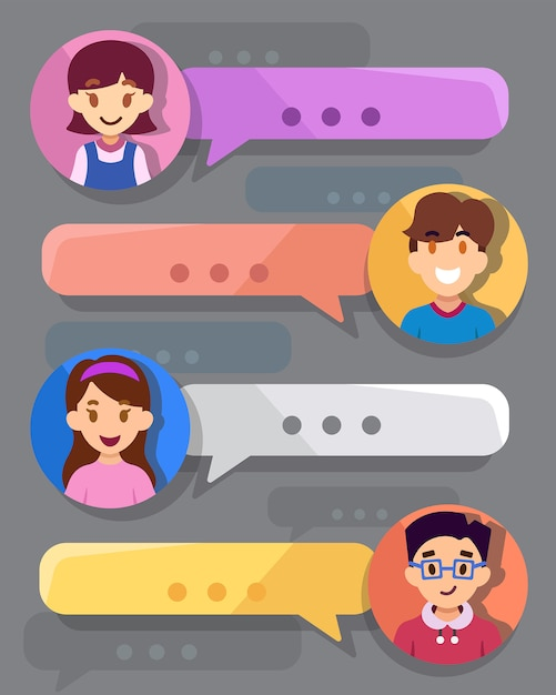 Teenager chat box Premium Vector