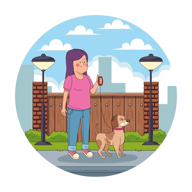 Teenager in the city cartoon round icon Free Vector