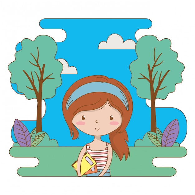 Teenager girl cartoon clip-art illustration Premium Vector