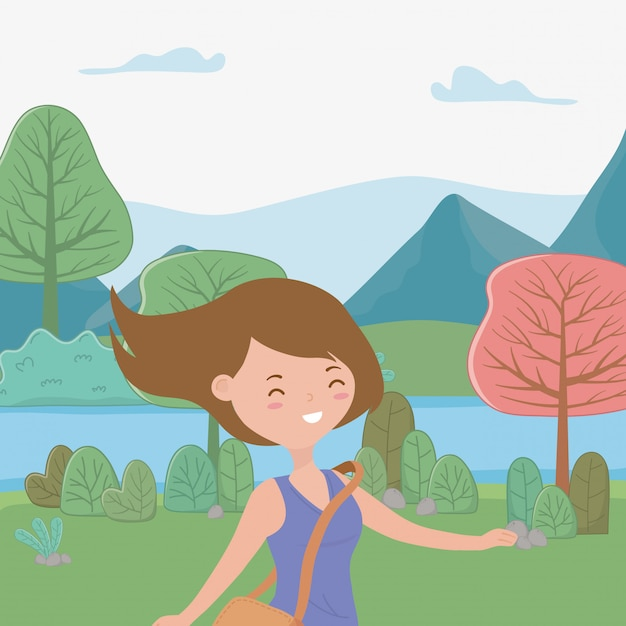 Teenager girl cartoon Free Vector