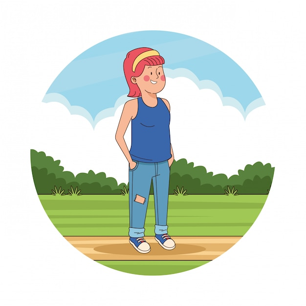 Teenager girl in the park scenery Free Vector