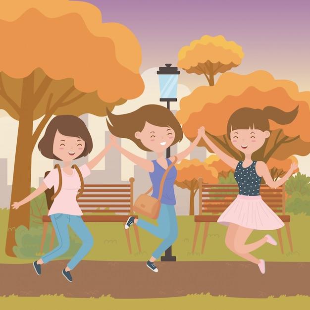 Teenager girls cartoons Free Vector