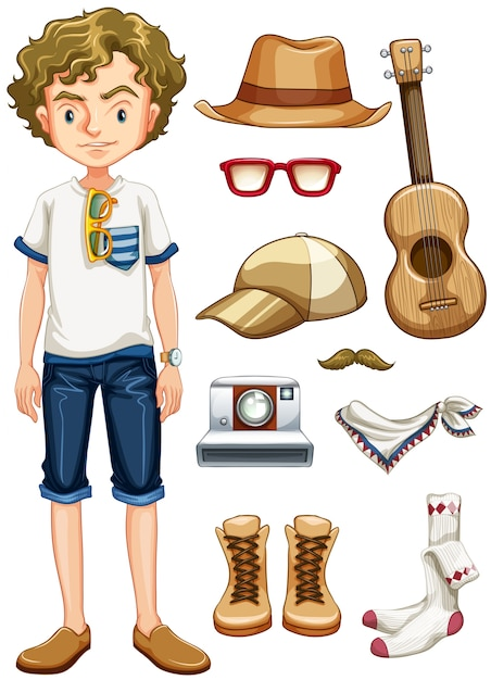 Teenager Hipster And Many Items Vector