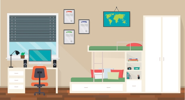 Teenager room interior design with trendy workspace for homework Premium Vector